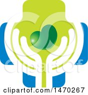 Clipart Of A Pair Of Abstract Hands With A Heart And Cross Royalty Free Vector Illustration by Lal Perera