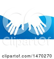 Clipart Of A Pair Of Hands Over Blue Royalty Free Vector Illustration