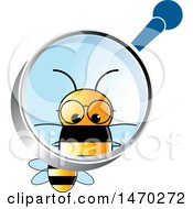 Clipart Of A Bee Under A Magnifying Glass Royalty Free Vector Illustration