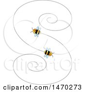 Clipart Of A Letter S Formed By Flying Bees Royalty Free Vector Illustration
