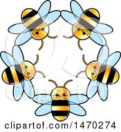Clipart Of A Circle Of Bees Royalty Free Vector Illustration