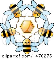 Clipart Of A Circle Of Bees Around A Honeycomb Royalty Free Vector Illustration