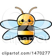 Clipart Of A Bee Wearing Glasses Royalty Free Vector Illustration