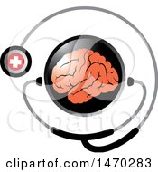 Clipart Of A Stethoscope Around A Brain Royalty Free Vector Illustration