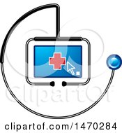 Clipart Of A Stethoscope Around A Screen With A Cursor And Cross Royalty Free Vector Illustration