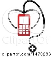 Clipart Of A Stethoscope Around A Mobile Phone Royalty Free Vector Illustration