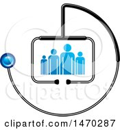 Clipart Of A Stethoscope Around People Royalty Free Vector Illustration