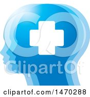 Clipart Of A Blue Profiled Heads With A Cross Royalty Free Vector Illustration