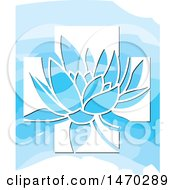 Clipart Of A Water Lily Lotus Flower In A White Cross Over Blue Royalty Free Vector Illustration by Lal Perera