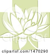 Clipart Of A Water Lily Lotus Flower In A Green Cross Royalty Free Vector Illustration