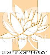 Clipart Of A Water Lily Lotus Flower In An Orange Cross Royalty Free Vector Illustration