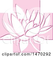 Clipart Of A Water Lily Lotus Flower In A Pink Cross Royalty Free Vector Illustration