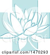 Clipart Of A Water Lily Lotus Flower In A Blue Cross Royalty Free Vector Illustration