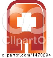 Clipart Of A Medical Cross In A Gradient Red Letter A Royalty Free Vector Illustration