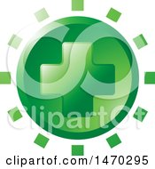 Clipart Of A Green Cross Design Royalty Free Vector Illustration