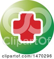 Clipart Of A Red And White Cross In A Green Circle Royalty Free Vector Illustration by Lal Perera