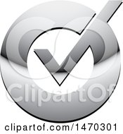 Clipart Of A Silver Check Mark Icon Royalty Free Vector Illustration