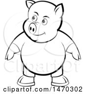Clipart Of A Black And White Pig Wearing Clothes Royalty Free Vector Illustration by Lal Perera