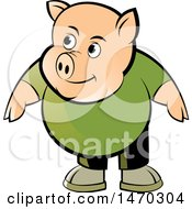 Clipart Of A Pig Wearing A Green Shirt Royalty Free Vector Illustration