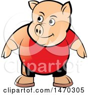 Clipart Of A Pig Wearing A Red Shirt Royalty Free Vector Illustration