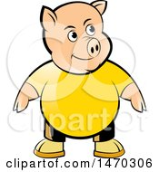 Clipart Of A Pig Wearing A Yellow Shirt Royalty Free Vector Illustration