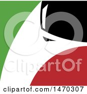 Clipart Of A White Silhouetted Fox Head In A Black Green And Red Square Royalty Free Vector Illustration by Lal Perera