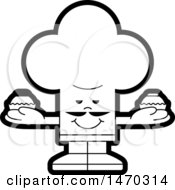 Black And White Chef Toque Hat Character Holding Cupcakes
