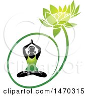 Silhouetted Woman Doing Yoga In A Green Water Lily Lotus Flower