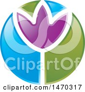 Clipart Of A Purple Flower In A Green And Blue Circle Royalty Free Vector Illustration