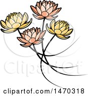 Clipart Of Five Water Lily Lotus Flowers Royalty Free Vector Illustration