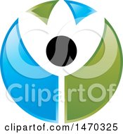 Clipart Of A Blue Green Black And White Abstract People Flower Royalty Free Vector Illustration by Lal Perera