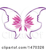 Clipart Of A Floral Butterfly With Profiled Face Wings Royalty Free Vector Illustration by Lal Perera