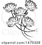 Clipart Of Black And White Five Water Lily Lotus Flowers Royalty Free Vector Illustration by Lal Perera