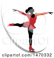 Clipart Of A Silhouetted Female Figure Skater On A Silver Swoosh Royalty Free Vector Illustration