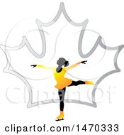 Clipart Of A Silhouetted Female Figure Skater Over A Silver Maple Leaf Royalty Free Vector Illustration