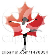 Clipart Of A Silhouetted Female Figure Skater Over A Red Maple Leaf Royalty Free Vector Illustration