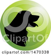 Clipart Of A Black Silhouetted Golden Retriever Dog In A Green Circle Royalty Free Vector Illustration by Lal Perera
