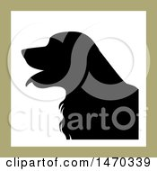 Clipart Of A Black Silhouetted Golden Retriever Dog In A Square Royalty Free Vector Illustration by Lal Perera