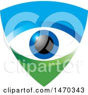 Clipart Of A Blue And Green Shield With An Eye Ball Royalty Free Vector Illustration