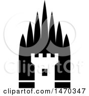 Clipart Of A Black And White Fortress Tower Royalty Free Vector Illustration by Lal Perera