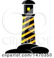 Clipart Of A Black And Yellow Hazard Stripes Lighthouse Royalty Free Vector Illustration