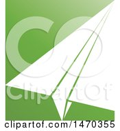 Clipart Of A White Paper Airplane On Green Royalty Free Vector Illustration by Lal Perera