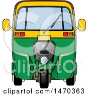 Clipart Of A Yellow And Green Tuk Tuk Auto Rickshaw Royalty Free Vector Illustration
