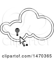 Clipart Of A Black And White Cloud With A Key Hole And Cursor Royalty Free Vector Illustration by Lal Perera