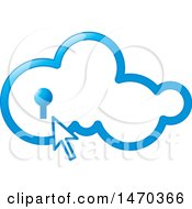 Clipart Of A Blue Cloud With A Key Hole And Cursor Royalty Free Vector Illustration by Lal Perera