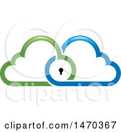 Clipart Of A Key Hole In Blue And Green Clouds Royalty Free Vector Illustration by Lal Perera