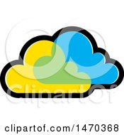 Clipart Of Overlapping Blue And Yellow Clouds Royalty Free Vector Illustration by Lal Perera