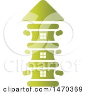 Clipart Of A Gradient Green Spine House Royalty Free Vector Illustration