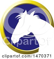 Clipart Of A White Silhouetted Horse Head In A Gold And Blue Circle Royalty Free Vector Illustration