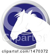 Clipart Of A White Silhouetted Horse Head In A Silver And Blue Circle Royalty Free Vector Illustration
